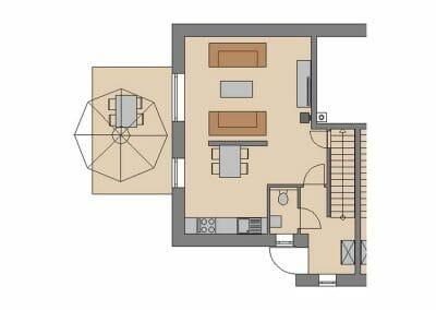 Grundriss Ferienhaus 2 & 3 Erdgeschoss