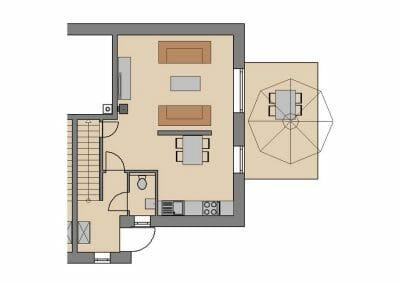 Grundriss Ferienhaus 1 & 4 Erdgeschoss